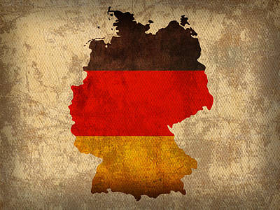 Map Of Germany With Flag Art On Distressed Worn Canvas Art Print by Design Turnpike