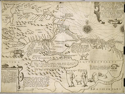 Cartography Photograph - Map Of Guiana by British Library