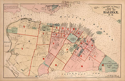 Halifax Halifax Nova Scotia Photograph - Map Of Halifax 1878 by Andrew Fare