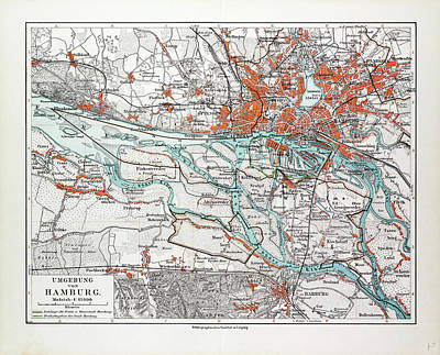 Hamburg Drawing - Map Of Hamburg And The Surrounding Area Germany 1899 by German School