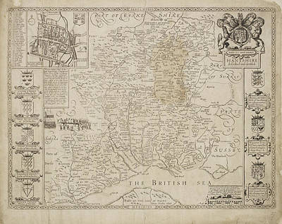 Cartography Photograph - Map Of Hantshire by British Library