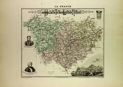 Map Of Haute Loire 1896 France Art Print by French School