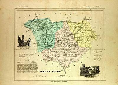 Map Of Haute Loire France Art Print by French School
