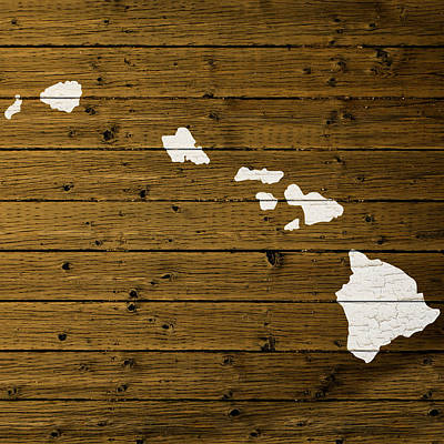 Map Of Hawaii State Outline White Distressed Paint On Reclaimed Wood Planks. Art Print