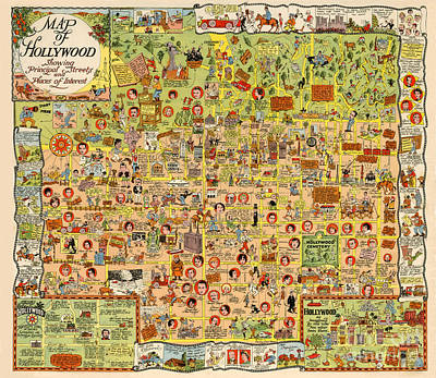 Photograph - Map Of Hollywood California By Harrison Godwin 1928 by California Views Archives Mr Pat Hathaway Archives