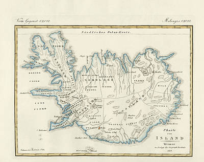 Map Of Iceland Art Print by Splendid Art Prints