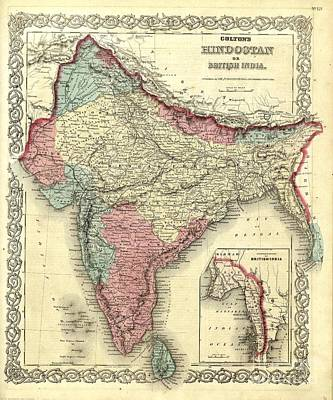 Painting - Map Of India - 1872 by Pg Reproductions