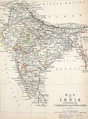 Hand Engraving Drawing - Map Of India by Alexander Keith Johnson