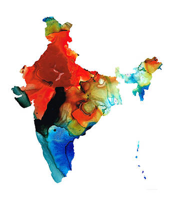 Map Of India By Sharon Cummings Art Print by Sharon Cummings