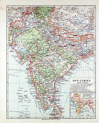 Pakistan Drawing - Map Of India Pakistan And Tibet 1899 by Indian School