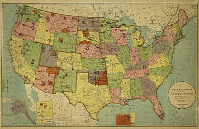Choctaw Photograph - Map Of Indian Reservations 1902 by Andrew Fare
