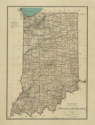Vintage Map Photograph - Map Of Indiana 1886 by Andrew Fare