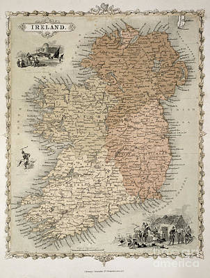 Country Drawing - Map Of Ireland by C Montague