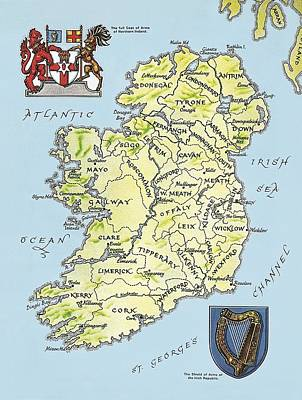 Harp Painting - Map Of Ireland by English School