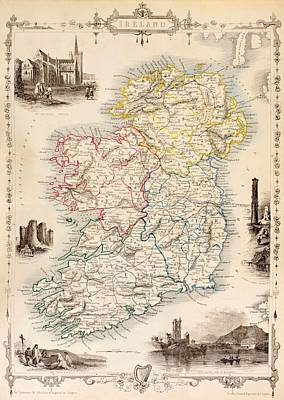 Landmarks Drawing - Map Of Ireland From The History Of Ireland By Thomas Wright by English School