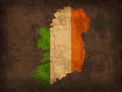 Map Of Ireland With Flag Art On Distressed Worn Canvas Art Print by Design Turnpike