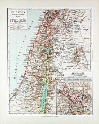 Jordan Drawing - Map Of Israel Jerusalem The Southern Part Of Syria Lebanon by Israeli School
