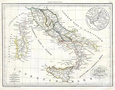 Map Of Italy In Ancient Roman Times Art Print by Paul Fearn