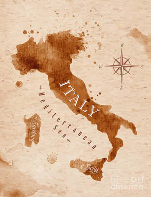 Trip Wall Art - Digital Art - Map Of Italy In Old Style, Brown by Anna42f