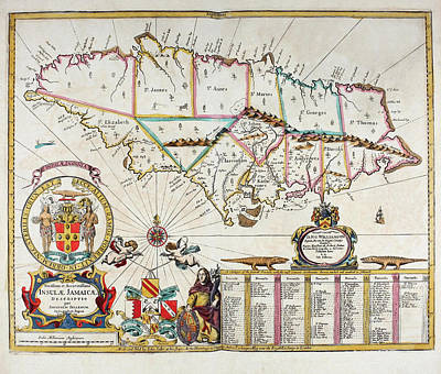 Map Of Jamaica - 1672 Art Print
