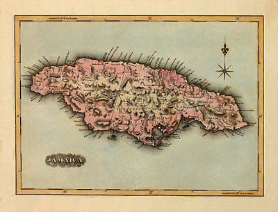 Vintage Map Photograph - Map Of Jamaica 1823 by Andrew Fare