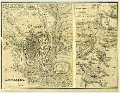 Petra Drawing - Map Of Jerusalem, Biblical Researches In Palestine by Litz Collection