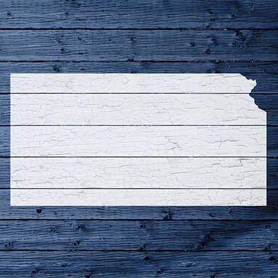 Kansas Mixed Media - Map Of Kansas State Outline White Distressed Paint On Reclaimed Wood Planks by Design Turnpike