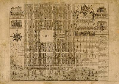 Map Of Kingston 1745 Art Print