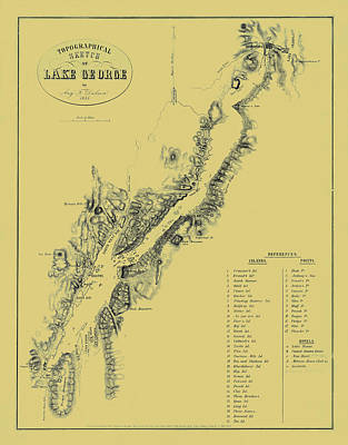 Vintage Map Photograph - Map Of Lake George 1855 by Andrew Fare