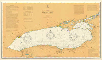 Vintage Map Photograph - Map Of Lake Ontario 1904 by Andrew Fare