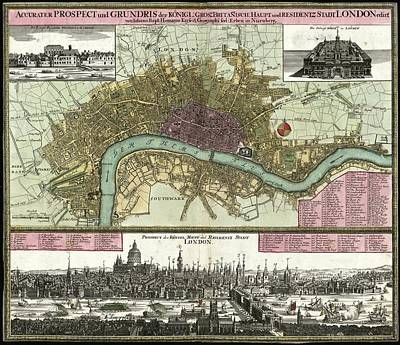 Whitehall Photograph - Map Of London by Library Of Congress, Geography And Map Division