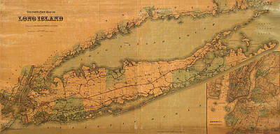 Vintage Map Photograph - Map Of Long Island 1888 by Andrew Fare