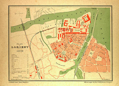 Map Of Lorient France Art Print by French School