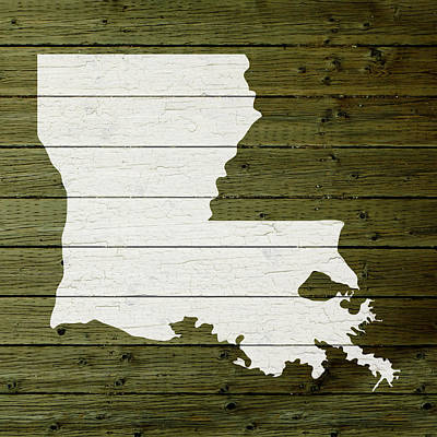 Map Of Louisiana State Outline White Distressed Paint On Reclaimed Wood Planks Art Print
