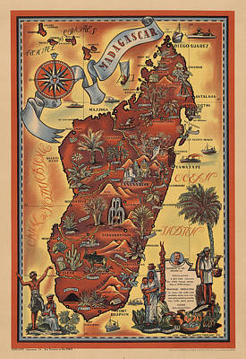 Vintage Map Photograph - Map Of Madagascar 1952 by Andrew Fare