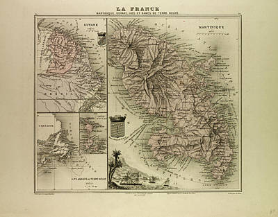 Terra Drawing - Map Of Martinique French Guiana And Terra Nova 1896 by English School