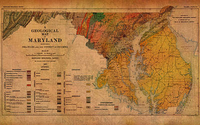 Baltimore Mixed Media - Map Of Maryland Geological 1897 by Design Turnpike