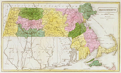 Ma. Drawing - Map Of Massachusetts, From Historical Collections Of Massachusetts, By John Warren Barber, 1839 by American School