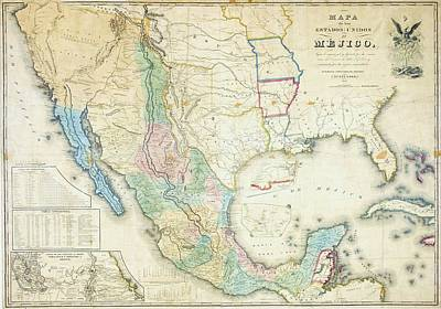 Painting - Map Of Mexico - 1847 by Roberto Prusso