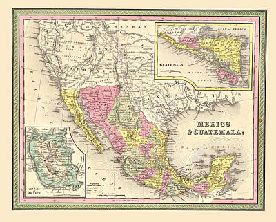 Antique Map Digital Art - Map Of Mexico by Gary Grayson