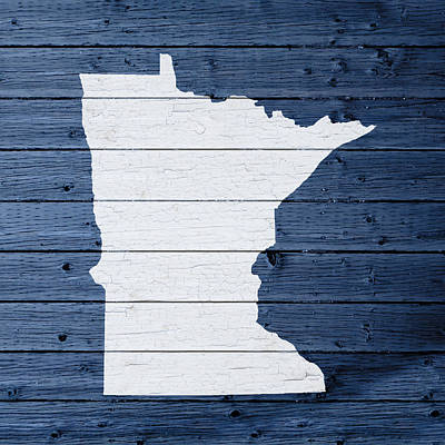 Map Of Minnesota State Outline White Distressed Paint On Reclaimed Wood Planks Art Print by Design Turnpike