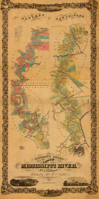 Natchez Photograph - Map Of Mississippi River 1858 by Andrew Fare