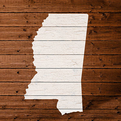 Map Of Mississippi State Outline White Distressed Paint On Reclaimed Wood Planks. Art Print by Design Turnpike