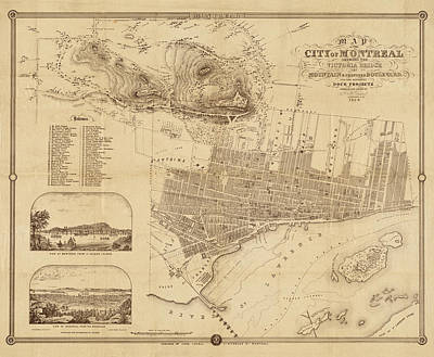 Old Montreal Photograph - Map Of Montreal 1859 by Andrew Fare