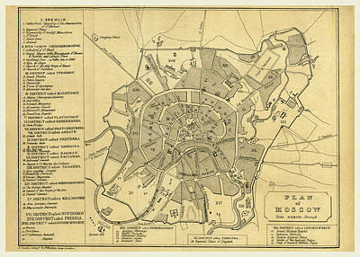 Moscow Drawing - Map Of Moscow, Russia by Litz Collection