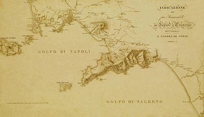 Vintage Map Photograph - Map Of Naples 1819 by Andrew Fare