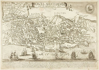 Cartographic Photograph - Map Of New Amsterdam In 1672 And 1729 by British Library