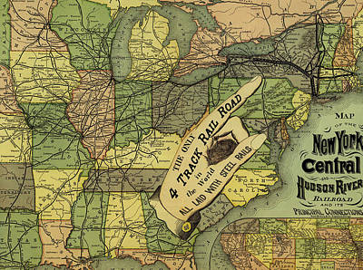 Old Country Roads Drawing - Map Of New York Central And Hudson River Railroad Routes 1876 by Mountain Dreams