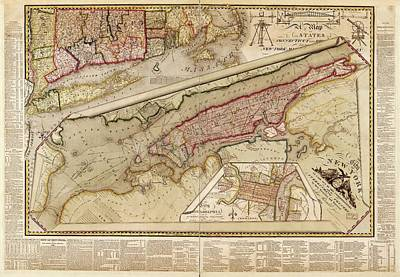 Manhattan Island Photograph - Map Of New York City by Library Of Congress, Geography And Map Division