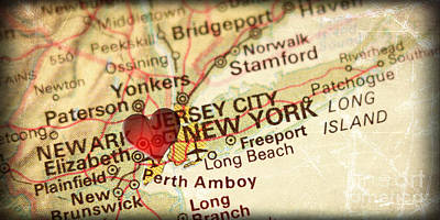 City Map Photograph - Map Of New York City Usa In A Antique Distressed Vintage Grunge  by ELITE IMAGE photography By Chad McDermott